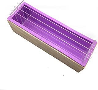 X-Haibei Loaf Soap Mold Silicone Wooden Box Acrylic Divider Board 3+2 Swirling Making
