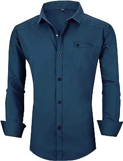 Mens Military Shirt Slim Fit Tactical Button Down Dress Shirts