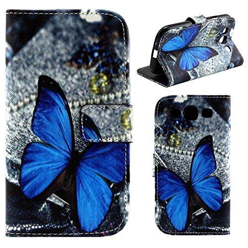 HUANGTAOLI Custodia in Pelle Portafoglio Flip Case Cover per Samsung Galaxy S3 i9300/S3 Neo i9301