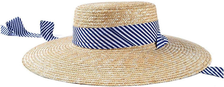 Fashion Spring Summer Wheat Straw Shallow Top Flat Hat Ladies Stripe Strap Visor Elegant Sun Hat Comfortable (color   Beige, Size   5658CM)