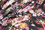 Escalano Seide Twill Blumenmuster Flower Meterware