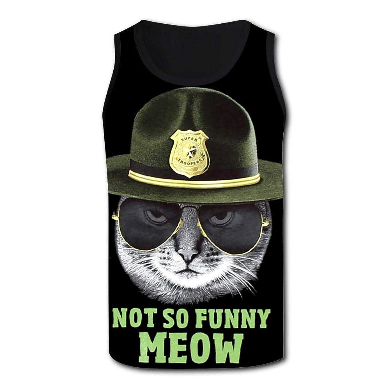 メンズ トップス タンクトップ Not So Funny Meow Cat Tshirt Tank top スポーツアウトドアエクササイズ タンクトップ