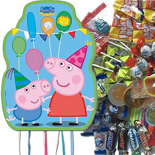Carpeta Juego de piñata Peppa Pig con piñata XL + 100 piezas de caramelos de relleno n.º 1, piñata española para hasta 7 niños, gran juego para cumpleaños infantiles y fiestas