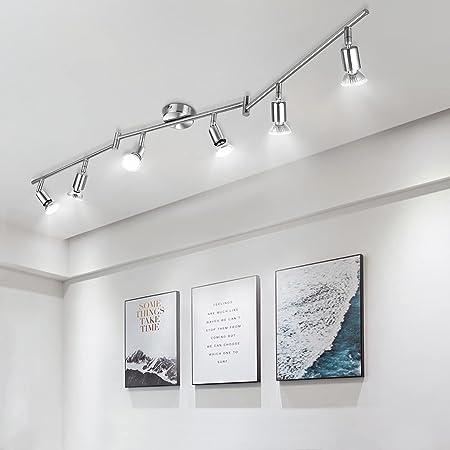 Plafonnier 6 Spots Pivotants, Wowatt Lumière Spot de Plafond 6000K Blanc Froid 6 × 6w Ampoules GU10 Incluses 600Lumens Lumineux AC230V Luminaire Plafonnier pour Chambre Cuisine Salle à Manger Couloir