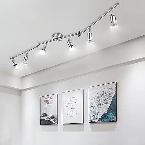 Plafonnier 6 Spots Pivotants, Wowatt Lumière Spot de Plafond 6000K Blanc Froid 6 × 6w Ampoules GU10 Incluses 600Lumen...