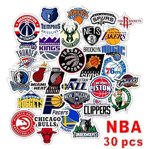 Swrotdin 30 Stück Skateboard-Aufkleber für NBA Basketball Sport Fan Vinyl Wasserdicht Aufkleber Anwendung auf Pad Notebook Auto Snowboard Fahrrad Gepäck Aufkleber DIY Dekoration (NBA Team Logo)