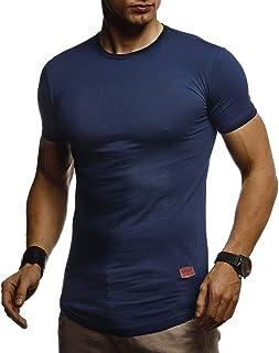 LEIF NELSON Herren Sommer T-Shirt Rundhals Ausschnitt Slim Fit Baumwolle-Anteil | Cooles weißes schwarzes Basic Männer T-Shirt Crew Neck | Jungen Kurzarmshirt O-Neck Kurzarm Sleeve Top Lang | LN8294