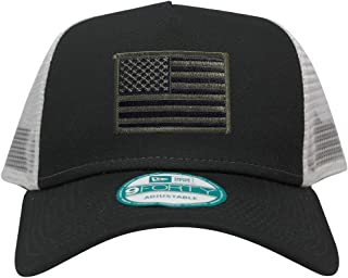 New Era 9FORTY 5 Panel USA Flag Patch Snapback Trucker Cap - Black