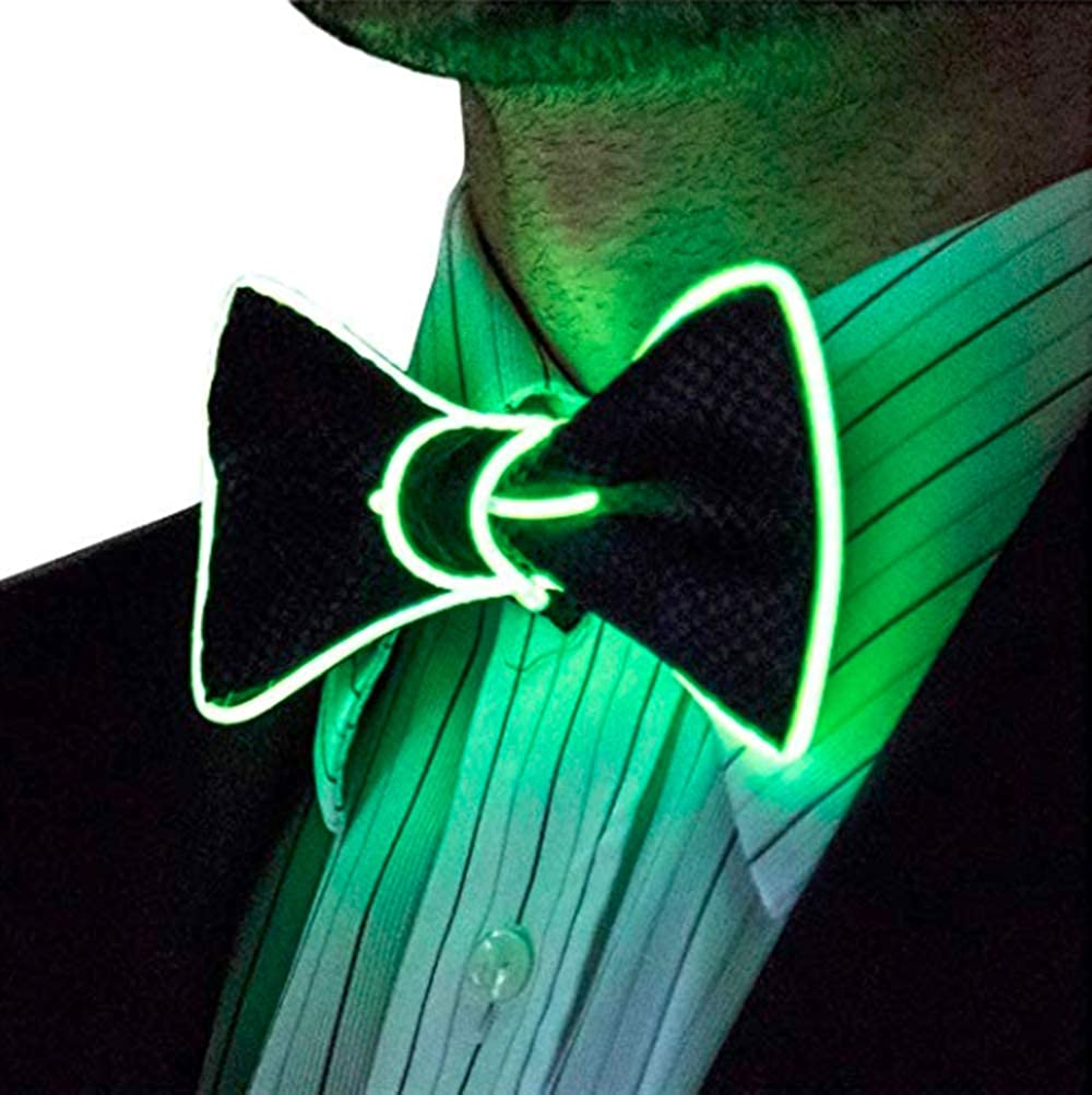 LED Bow Tie LED Light Up Bow Tie Luminous LED Bow Tie Adjustable EL Wire LED Light Up Glowing Bowtie