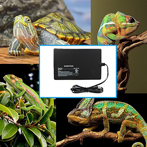 "SUDOTACK Reptile Heating Pad, Reptile Pet Heat Mat, Energy-efficient Glass Terrarium Heater, Tank Warmer, Under Tank Heater with UL Certification and US Plug- (16W 12""x8"")"