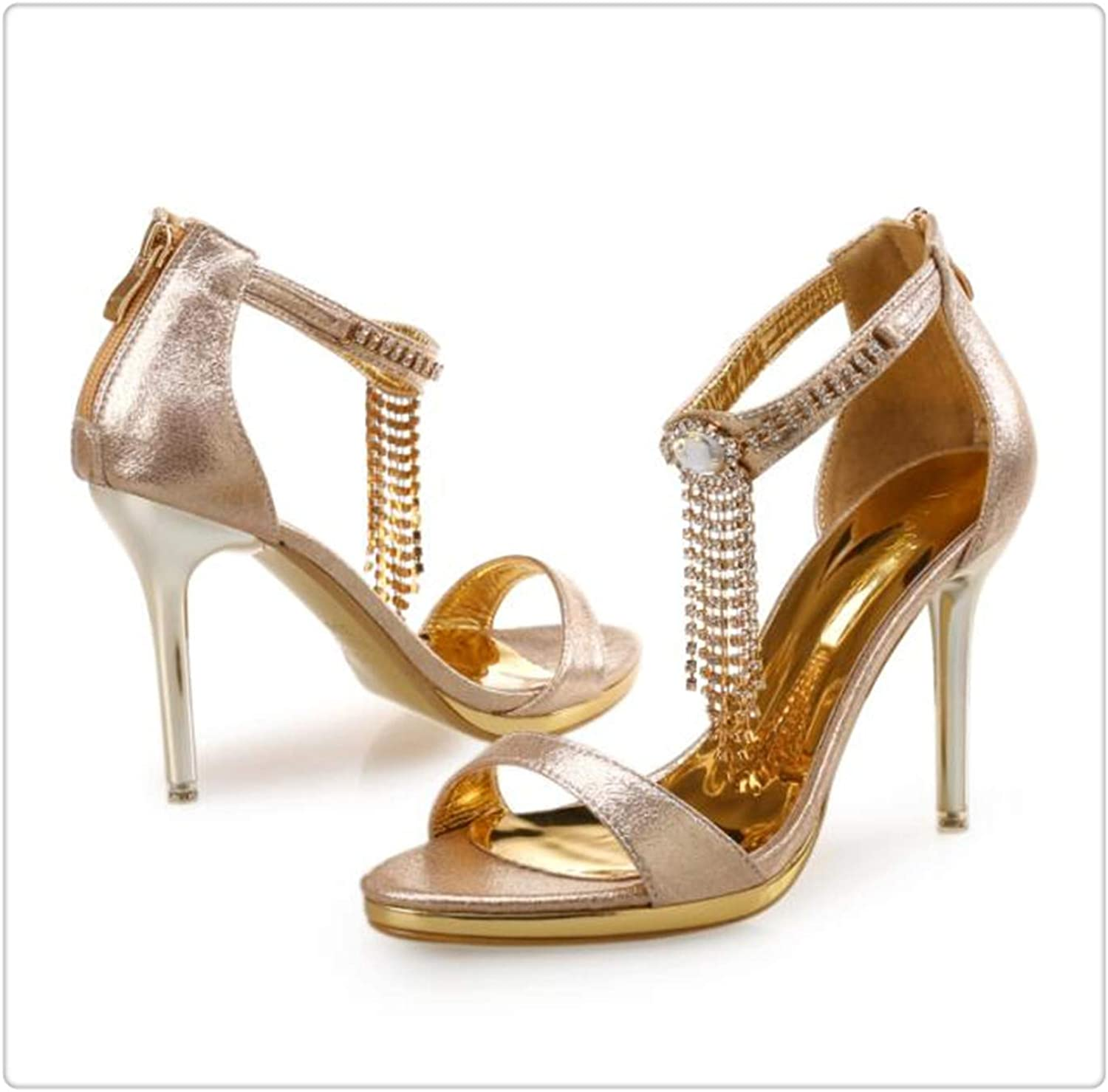BIONGTY& New 10.5cm Metal Thin Heel Fashion shoes Summer High Heel Woman Party Sandals