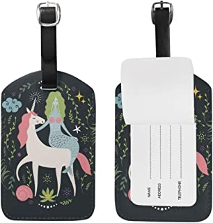 Mermaid and Unicorn Luggage Tags,Bag Tags Travel ID Labels For Baggage Suitcases