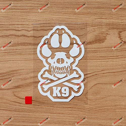 6'' White K-9 Unit Decal Sticker K9 Police Dog Paw Bone Car Vinyl die Cut no Background