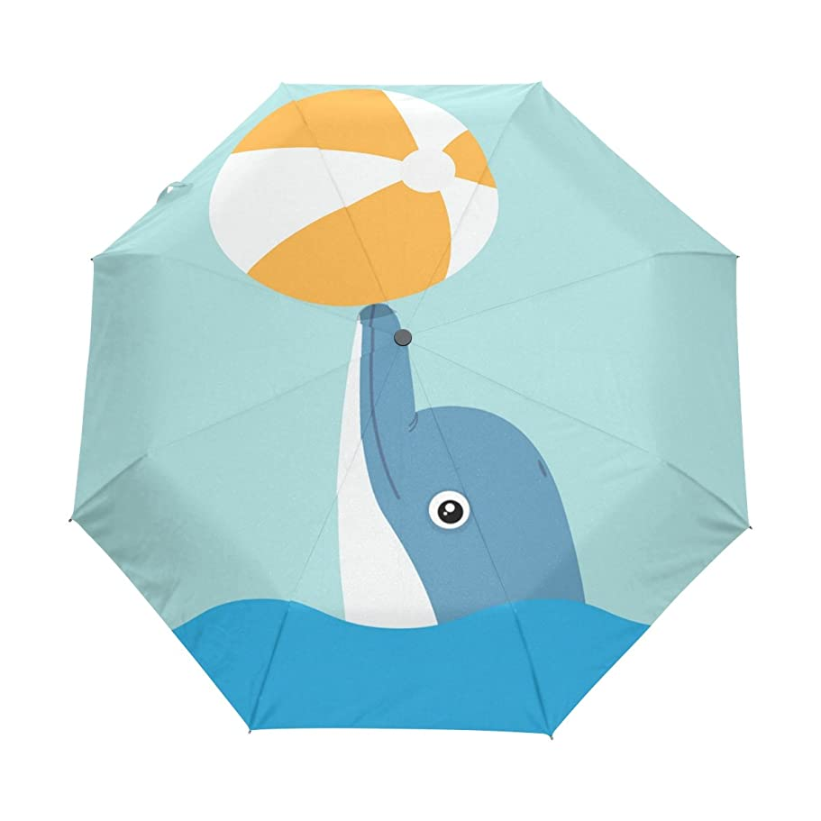 怒って特権的女優ALAZA 自動開閉式折りたたみ傘 イルカ柄 ドルフィン柄 水色 8本骨 ケース付き 晴雨兼用 3段折 梅雨対策 プレゼント