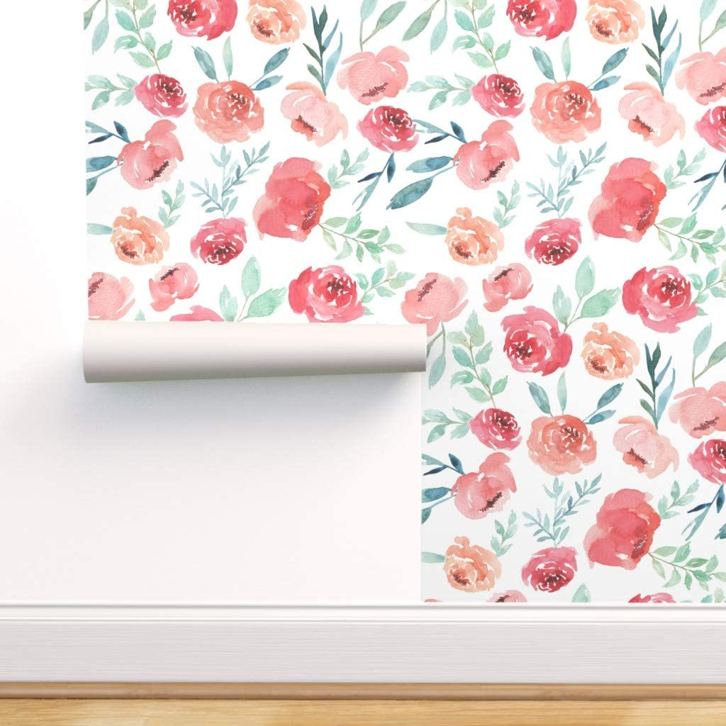 Spoonflower Pre-Pasted 訳あり Removable 格安店 Watercolor Floral Wallpaper