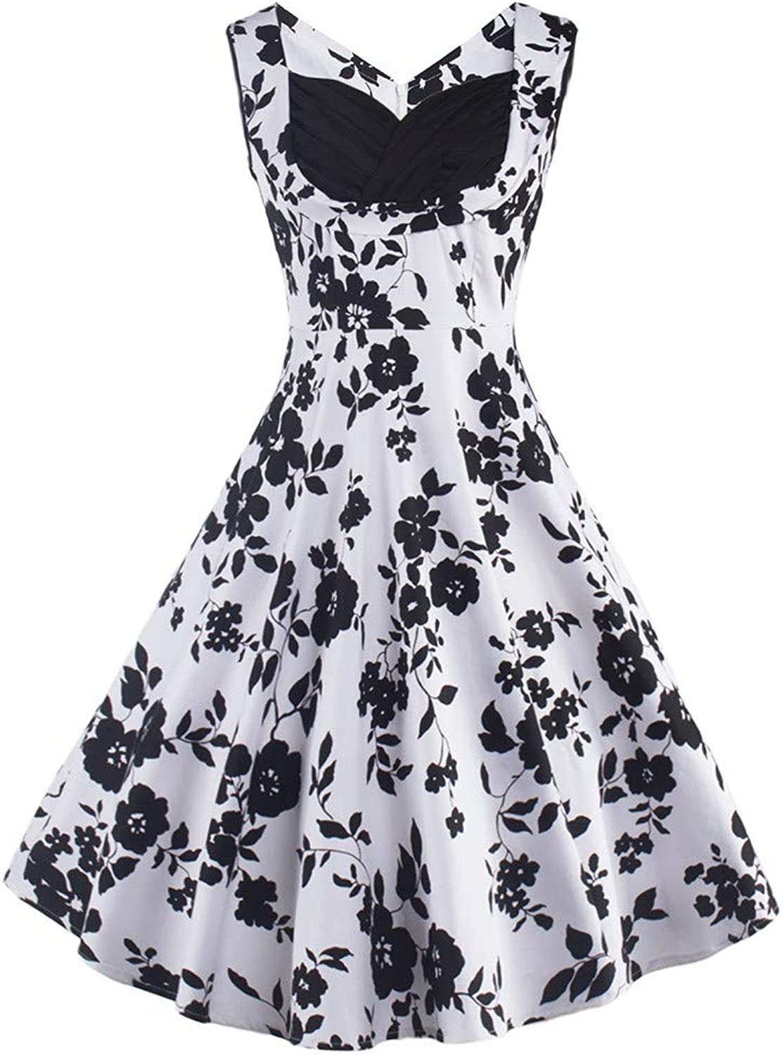 Xinantime Women's 1950s Retro Vintage Cocktail Party Swing Dress Evening Party Ball Mini Dress with Short Sleeve