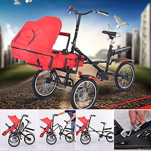 2 in 1 Kombi-Kinderwagen Fahrrad Ähnliche Mutter Und Baby Auto Abnehmbar 2 Modi Free Convertible Fahrmodus + Kinderwagen-Modus Can Sit-and-Ride Adult Unisex 10 Monate - 7 Jahre