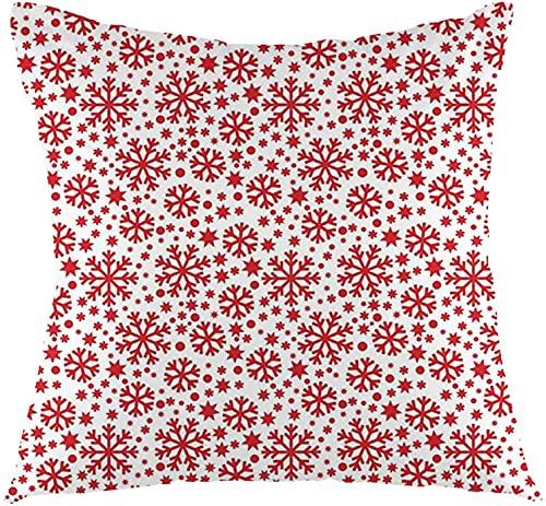Snowflake, Estrellas 7 Puntiagudas Estrellas y Puntos Patrón Abstractos Motivos Año Nuevo Ilustración, Rojo Blanco Cuadrado Impreso Algodón Funda Slipover Almohada Slip-45,7 x 45,7 cm