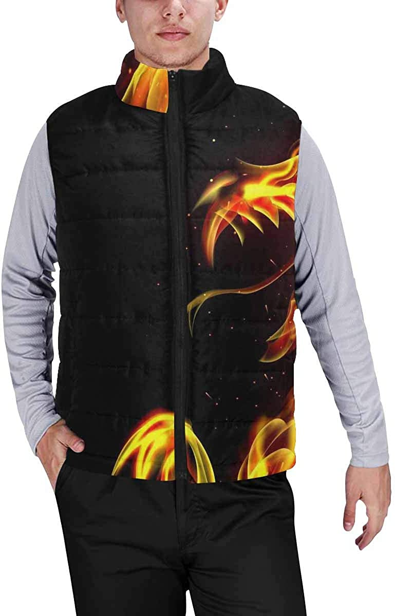 InterestPrint Lightweight Winter Padded with Full Zipper for Men Doodle Style Hearts and Circles