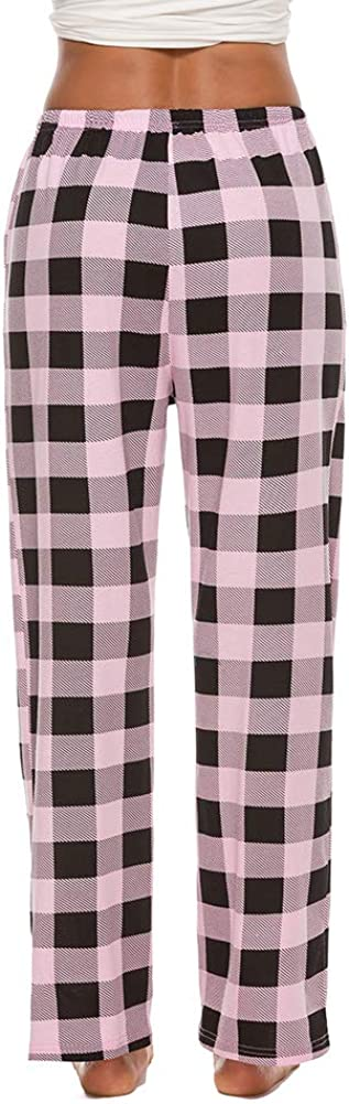 ezShe Women's Cotton Plaid Pajama Pants Comfy Lounge Sleep Pants