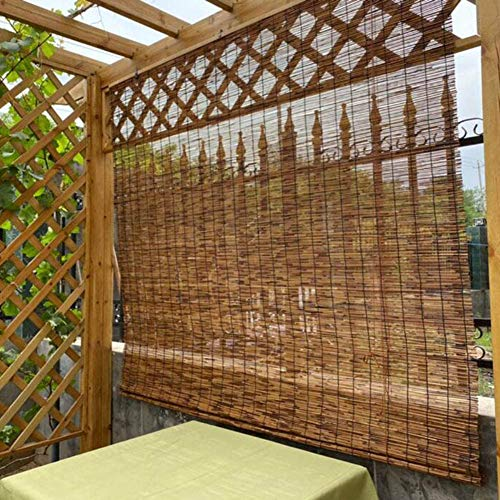 Patio Roll Up Shades Outdoor, Bamboo Roll Up Window Blinds, Thernal Insulated Shading Sunscreen Blind, Vintage Curtain, Privacy Screen, Easy to Put Up