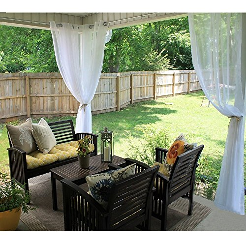 RYB HOME Outdoor Sheer Curtain for Patio, Grommet Top Sheer White Outdoor Curtain for Pergola, Outdoor Indoor Privacy Voile Drape with 1 Tieback Rope, 1 Panel, Wide 54 by Long 84 Inch