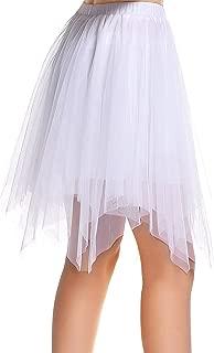 Amoretu Damen Knielange Asymmetrischer Gummibund Ausgestellter Zipfel Tüll Rock