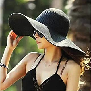 TUOLUO, Sombrero De Sol Junto Al Mar Mujer Sombrero De Sol De Verano Mujer Grande a Lo Largo De Sombrero De Paja De Sol Playa Plegable Niña Girl Negro