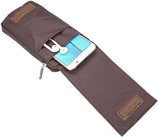 DFV mobile - حقيبة محفظة ذات شرائط متعددة الوظائف بحزام حقيبة جيب بها سحاب إغلاق ل تي سي إل 10 بلس (2020) - بني XXM (18 × ...