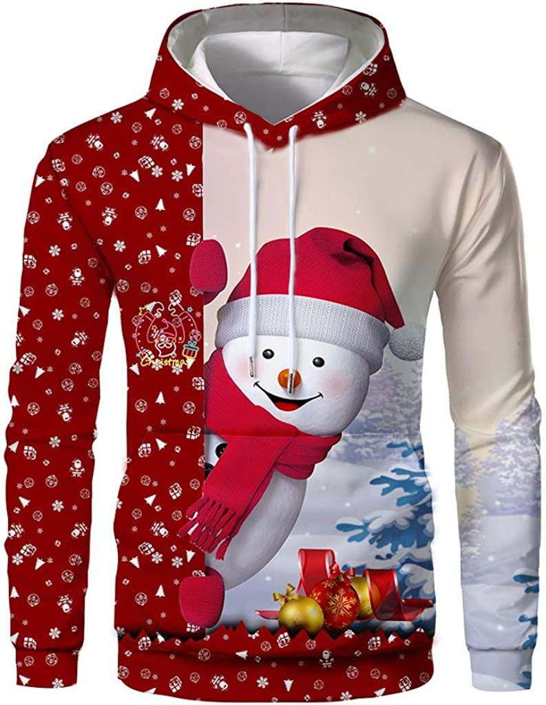 Holzkary 3D Funny Christmas Hoodie Printed Sweatshirt Long Sleeve Tops with Pocket for Men