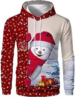 Mens Pullover Hoodie 3D Snowman Print Sweatshirt Casual Christmas Outwear