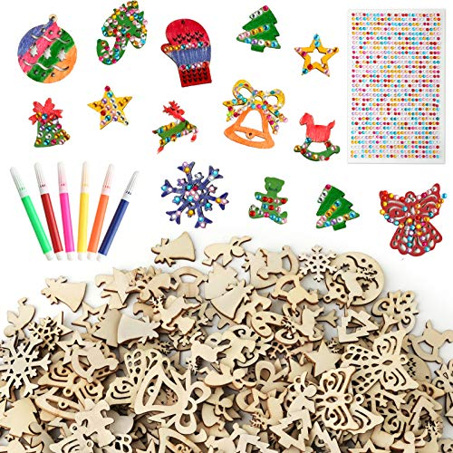 Pllieay 400 Pieces Mini Wooden Slices Mix Different Shapes Small Handmade Christmas Series Embellishments Ornaments for Christmas Decorations, DIY Party Craft and Card Making