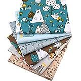 Zoo Animals Fat Quarters Fabric Bundles, Bear Fish Print Precut Sewing Quilting Fabric,18' x 22'(Multi)