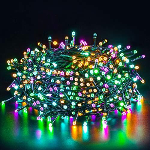 Quntis LED String Lights Colorful 20M 200LED CE Standard LED Fairy Lights Pink Orange Blue Green Four Colour Safe Low Voltage Indoor Fairy Lights for Christmas Wedding Party Garden Yard Tree