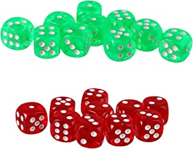 Blesiya Pack of 20 Six Sided D6 Dice for Playing D&D Warhammer RPG Board Game Favors - Green and Red Color