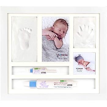 ネームバンド ベビーフォトフレーム 手形 足型 赤ちゃん ベビー フォト フレーム 木製 手形足形キット 置き掛け兼用 出産祝い 内祝い ベビー記念品 成長記録 ホワイト