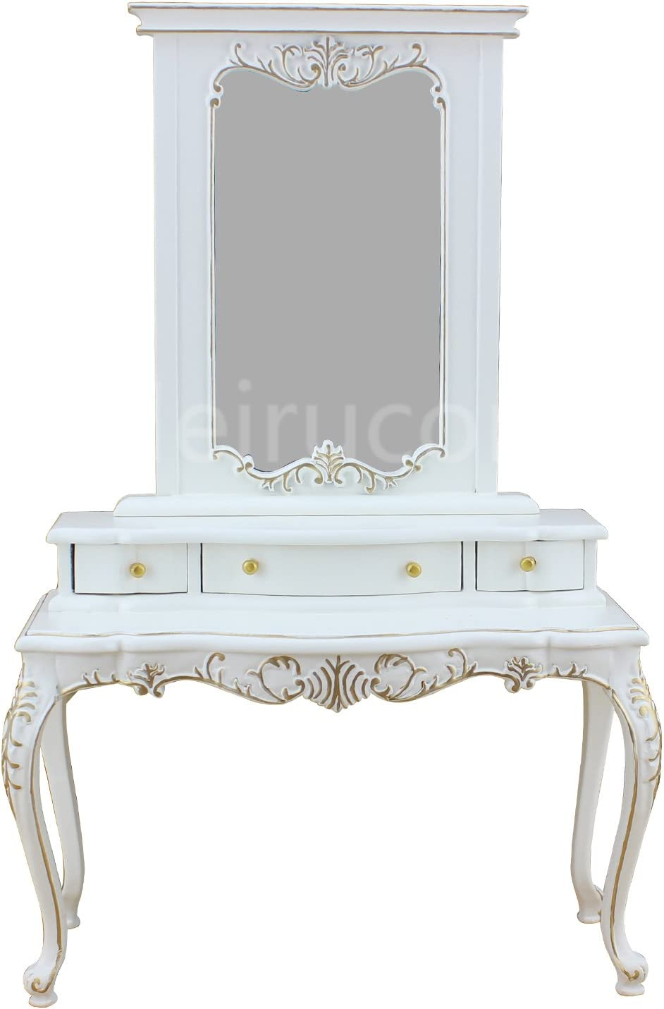 Doll Miniature Furniture 1/6 Scale Collection White Hand Gilt Dressing Tables and Mirrors