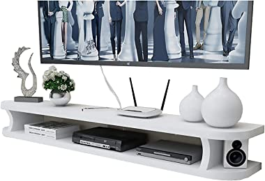 TV Cabinet, TV Lowboard, Floating Shelves, Floating TV Console, TV Stand Component Shelf, White TV Cabinet Easy to Install, S