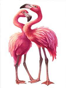Kexle Metal Home Decor Sign 2 Pink Flamingo Love Together Wall Tin Art 8x12inches
