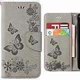 Ougger Handyhülle für Huawei Y6 (2018) Leder Schutzhülle Schale Weich TPU Silikon Magnetisch-Stehen Flip Cover Tasche Huawei Y6 (2018) mit Kartensteckplätzen, Schmetterling Streifen (Grau)