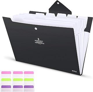 6/tasche Accordion Document organizer Storage Case conferenza portfolio Pad in borsa per fogli formato A5 Blue cartella Portable estensibile