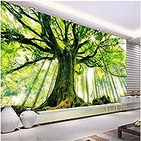 Lcymt 壁画の壁紙 森の風光明媚で暖かい太陽の壁画壁紙リビングルームのソファベッドルームテレビの背景の装飾の壁紙-280X200Cm
