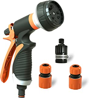 Elctman Garden Hose Nozzle Spray Nozzle, Water Hose Nozzle Comfort-Grip with 8 Adjustable Patterns for Watering Plants & L...