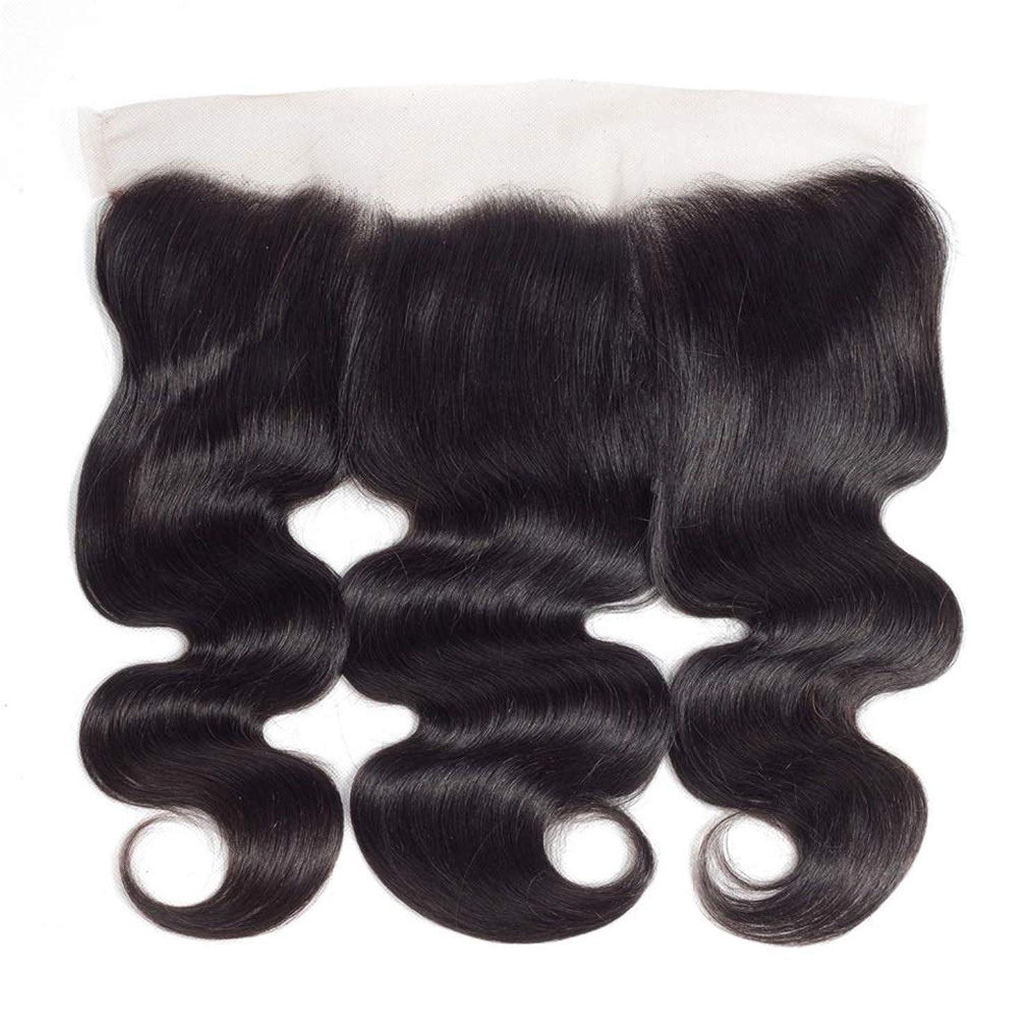 ラフ睡眠対角線与えるHOHYLLYA ブラジルの実体波人間の髪の毛の自由な部分13×4インチレース前頭閉鎖8インチ-20インチロングカーリーウィッグビッグウェーブウィッグ (色 : 黒, サイズ : 20 inch)