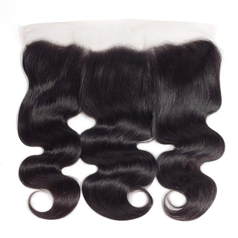 反乱ベンチャー性差別YESONEEP ブラジルの実体波人間の髪の毛の自由な部分13×4インチレース前頭閉鎖8インチ-20インチロングカーリーウィッグビッグウェーブウィッグ (色 : 黒, サイズ : 12 inch)