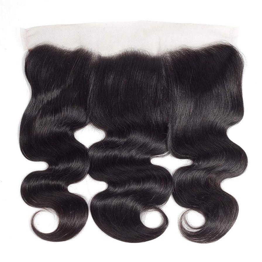 富豪統治するカスケードHOHYLLYA ブラジルの実体波人間の髪の毛の自由な部分13×4インチレース前頭閉鎖8インチ-20インチロングカーリーウィッグビッグウェーブウィッグ (色 : 黒, サイズ : 20 inch)