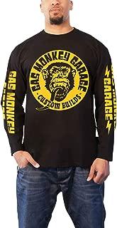 Gas Monkey Garage T Shirt Big Yellow Logo Official Mens Black Long Sleeve