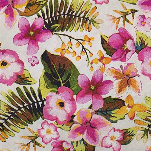 Farbige Papierservietten, 20 Stück, Shabby-Chic-Servietten für Hochzeit, Abendessen, Teeparty etc. Mimose & Blume
