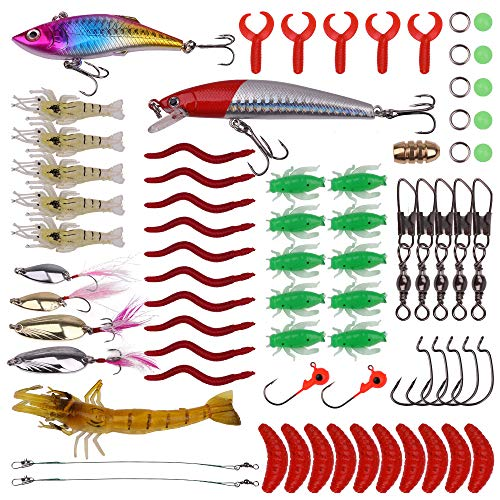 Señuelos de Pesca 72 Piezas Cebos Artificiales para Pesca Trucha Aparejos Bajo Salmón Lubina