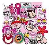 WayOuter Aufkleber Pack 100 Stücks Rosa Mädchen Wasserdicht Vinyl Stickers Graffiti Decals Stickerbomb für Auto Motorräder Fahrrad Skateboard Snowboard Gepäck Laptop MacBook Computer